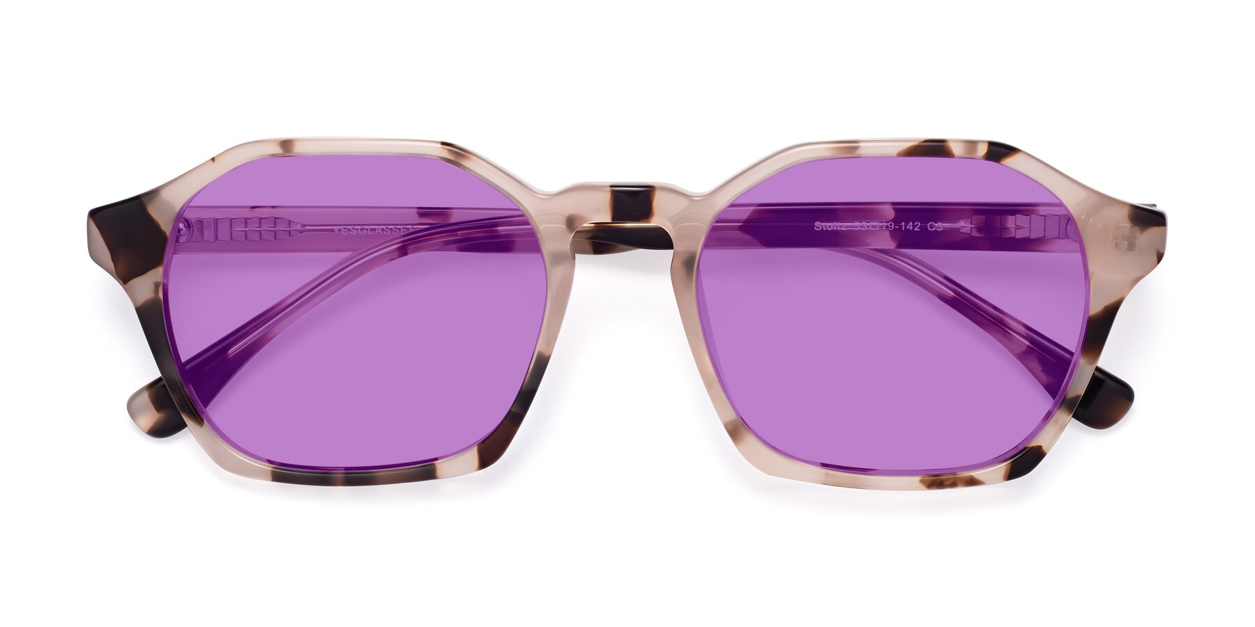 Folded Front of Stoltz in Leopard with Medium Purple Tinted Lenses