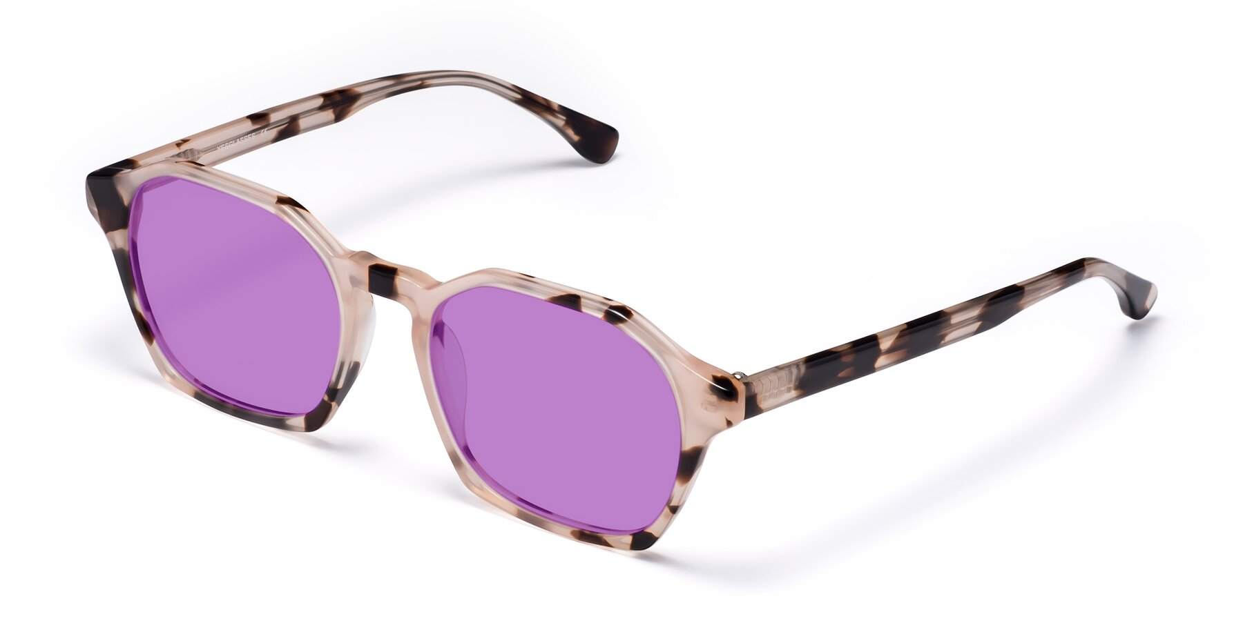 Angle of Stoltz in Leopard with Medium Purple Tinted Lenses