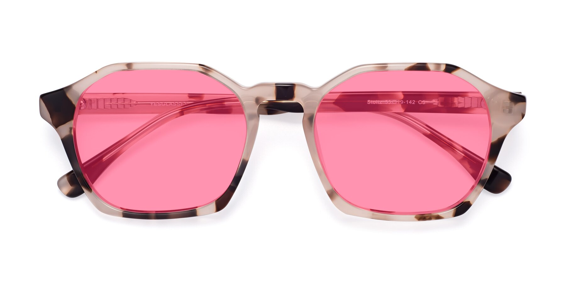 Folded Front of Stoltz in Leopard with Pink Tinted Lenses