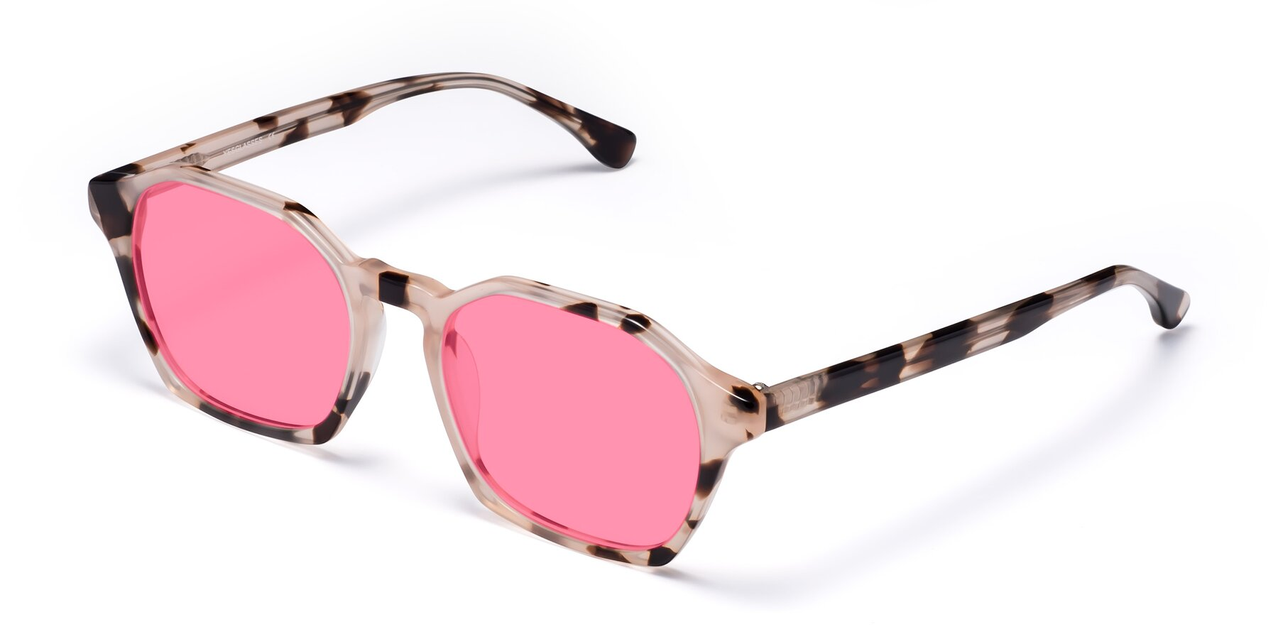 Angle of Stoltz in Leopard with Pink Tinted Lenses