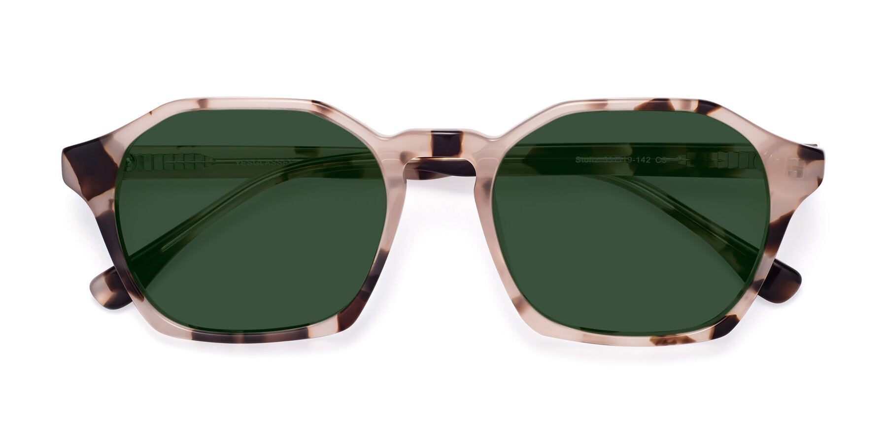 Folded Front of Stoltz in Leopard with Green Tinted Lenses
