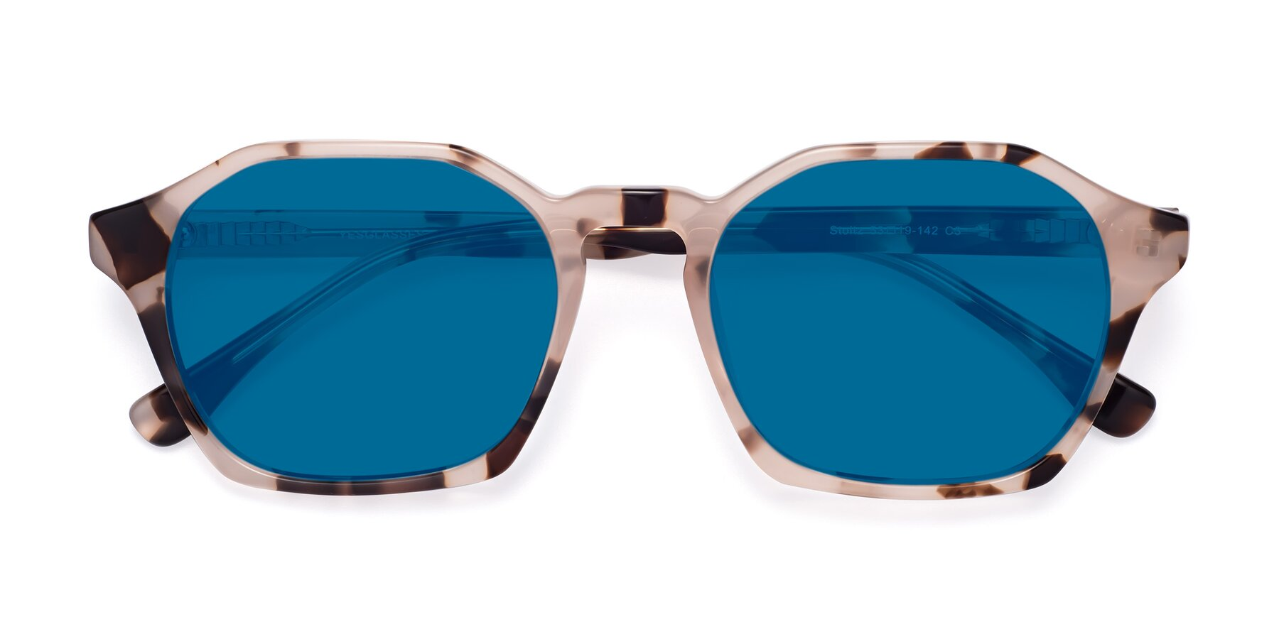 Folded Front of Stoltz in Leopard with Blue Tinted Lenses