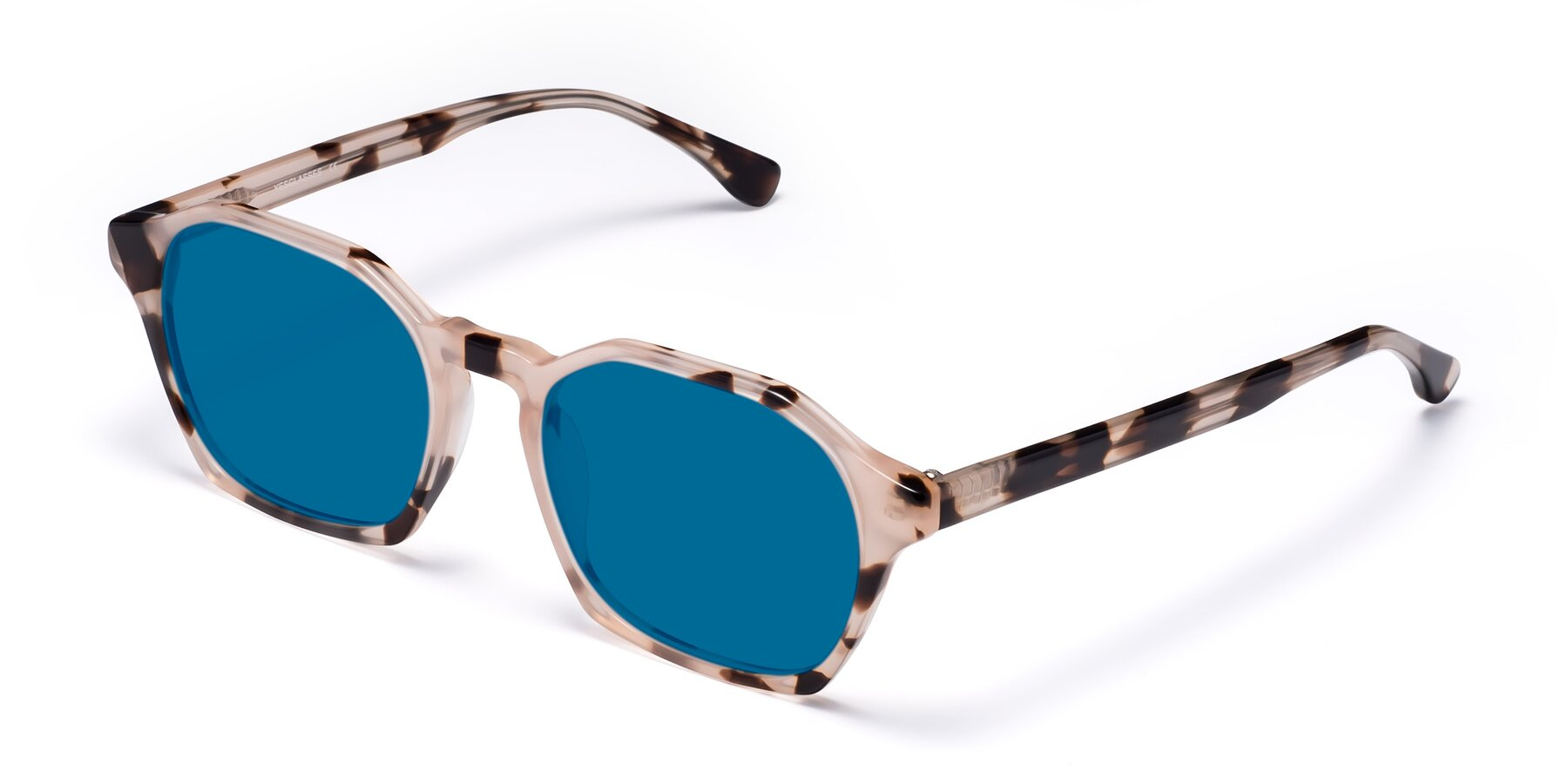 Angle of Stoltz in Leopard with Blue Tinted Lenses