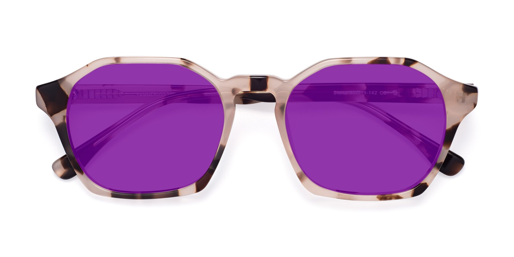 Folded Front of Stoltz in Leopard with Purple Tinted Lenses