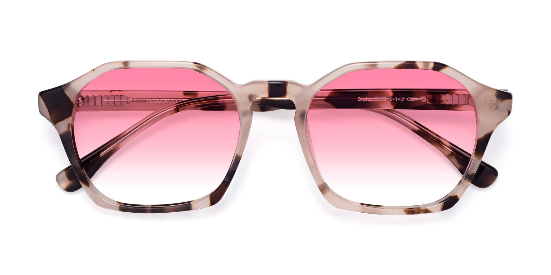 Folded Front of Stoltz in Leopard with Pink Gradient Lenses