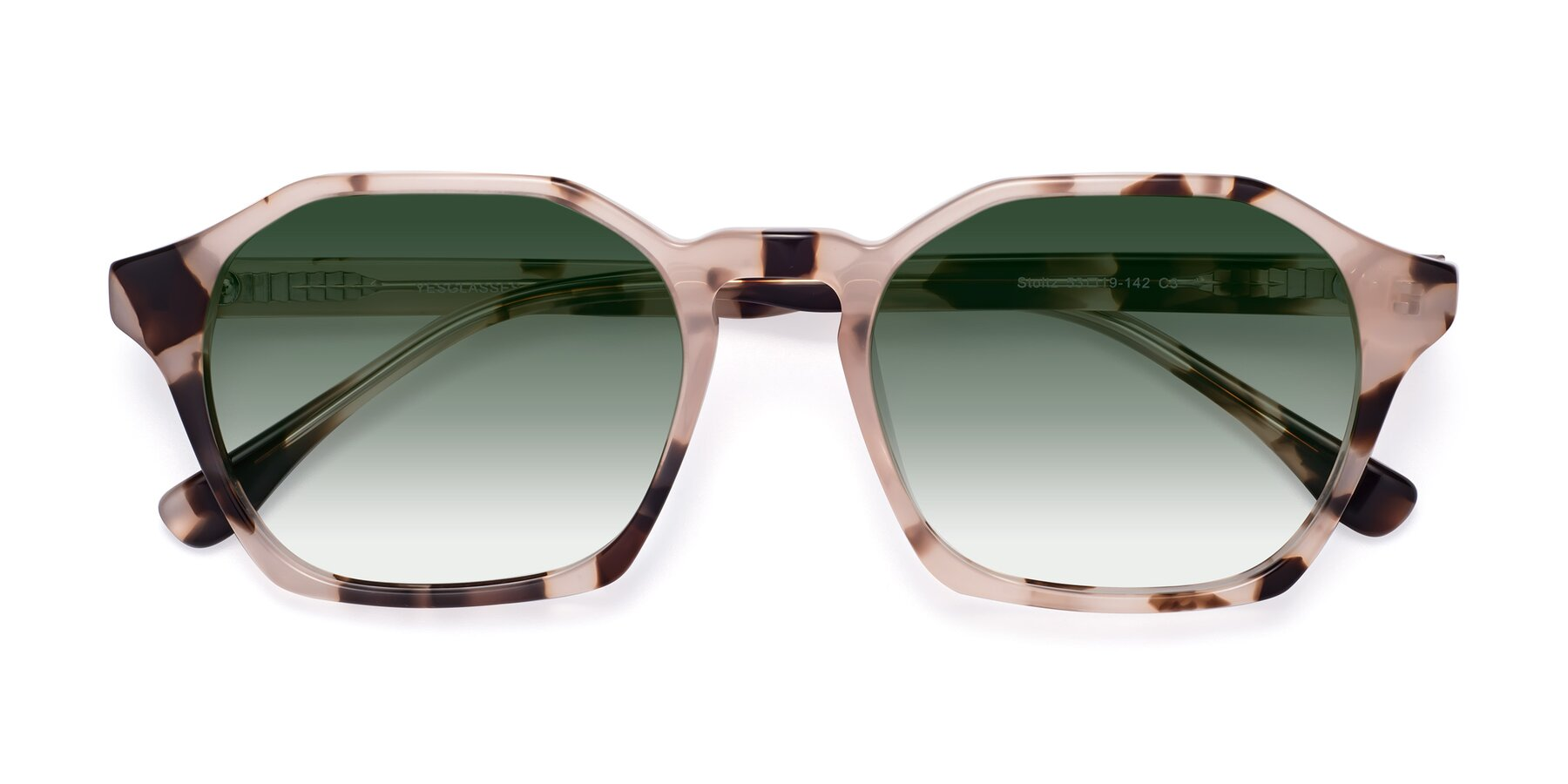 Folded Front of Stoltz in Leopard with Green Gradient Lenses