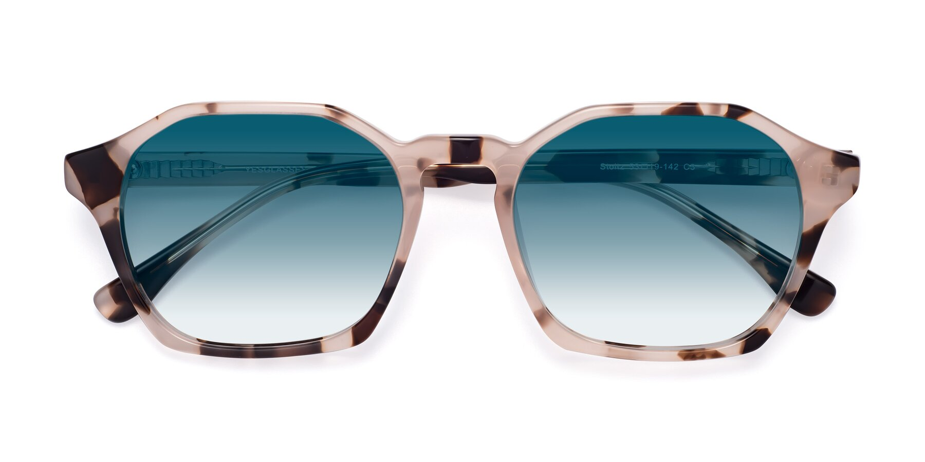Folded Front of Stoltz in Leopard with Blue Gradient Lenses