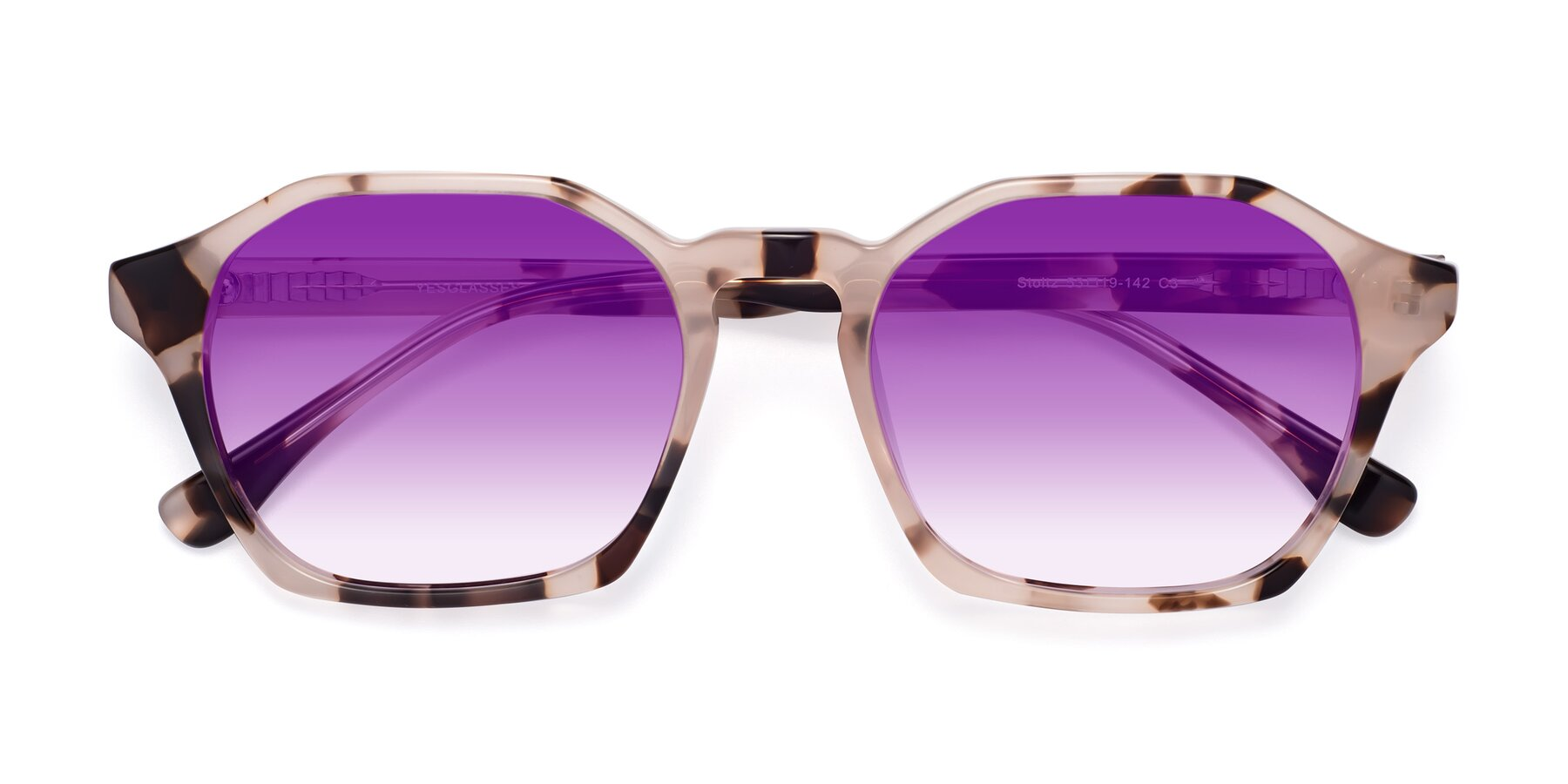 Folded Front of Stoltz in Leopard with Purple Gradient Lenses