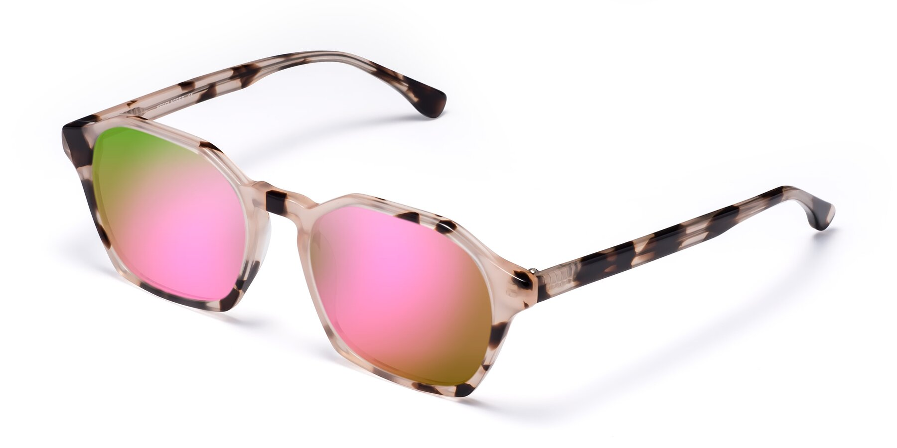 Angle of Stoltz in Leopard with Pink Mirrored Lenses