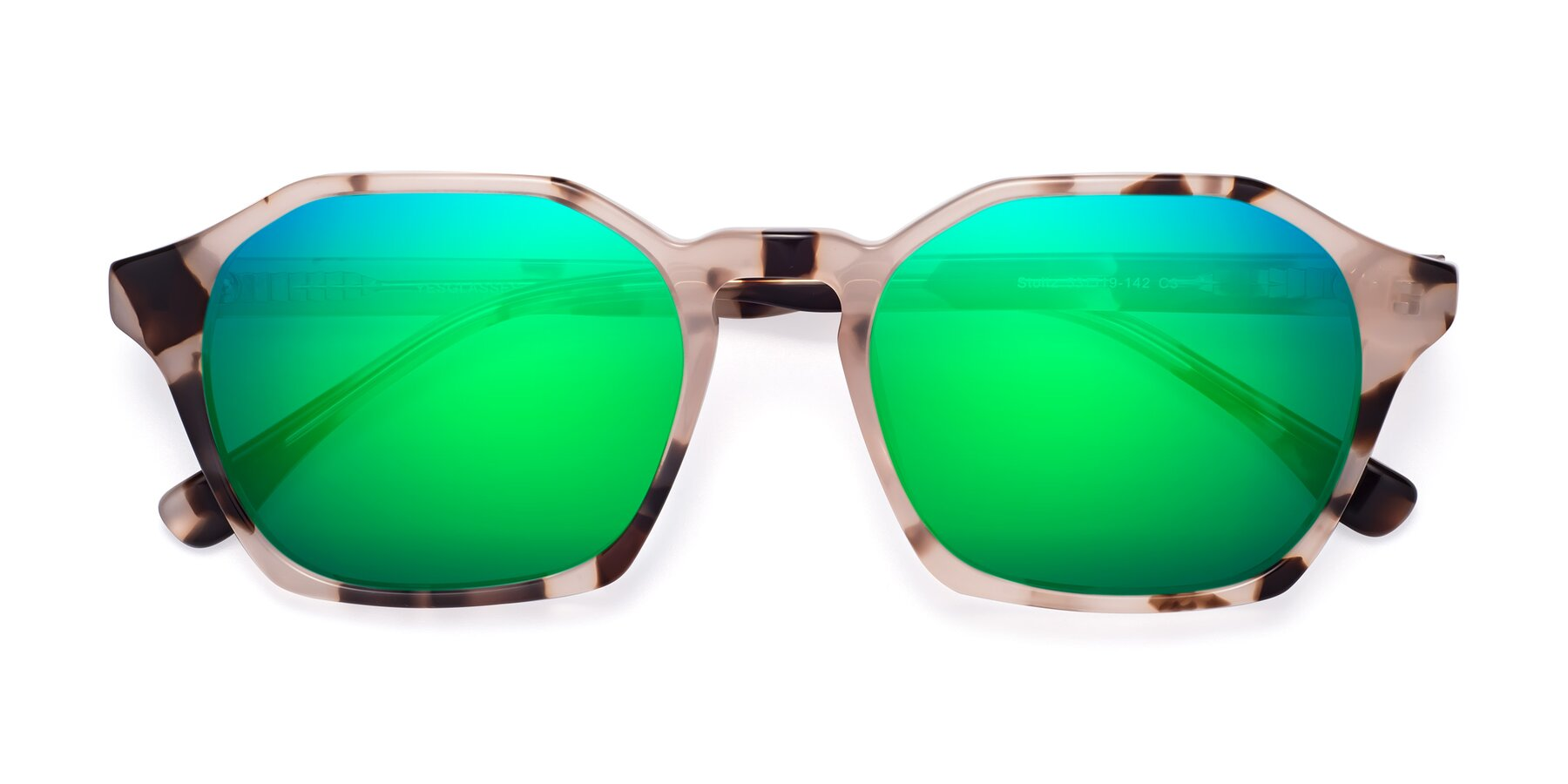 Folded Front of Stoltz in Leopard with Green Mirrored Lenses