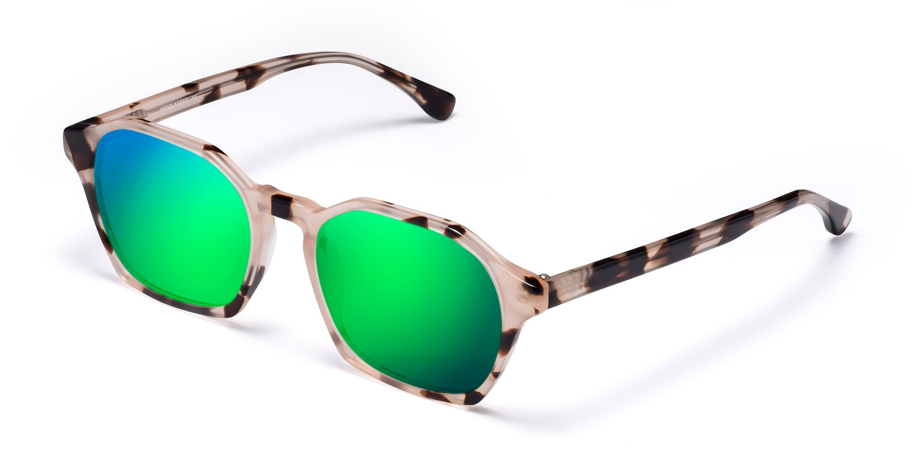 Angle of Stoltz in Leopard with Green Mirrored Lenses