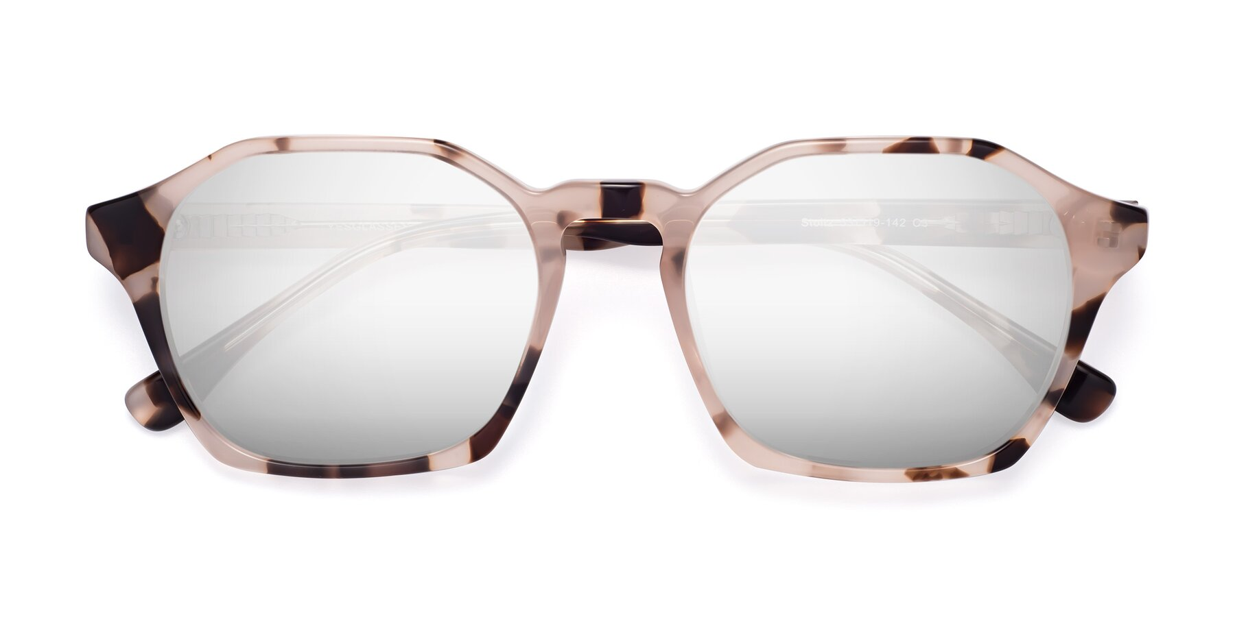 Folded Front of Stoltz in Leopard with Silver Mirrored Lenses