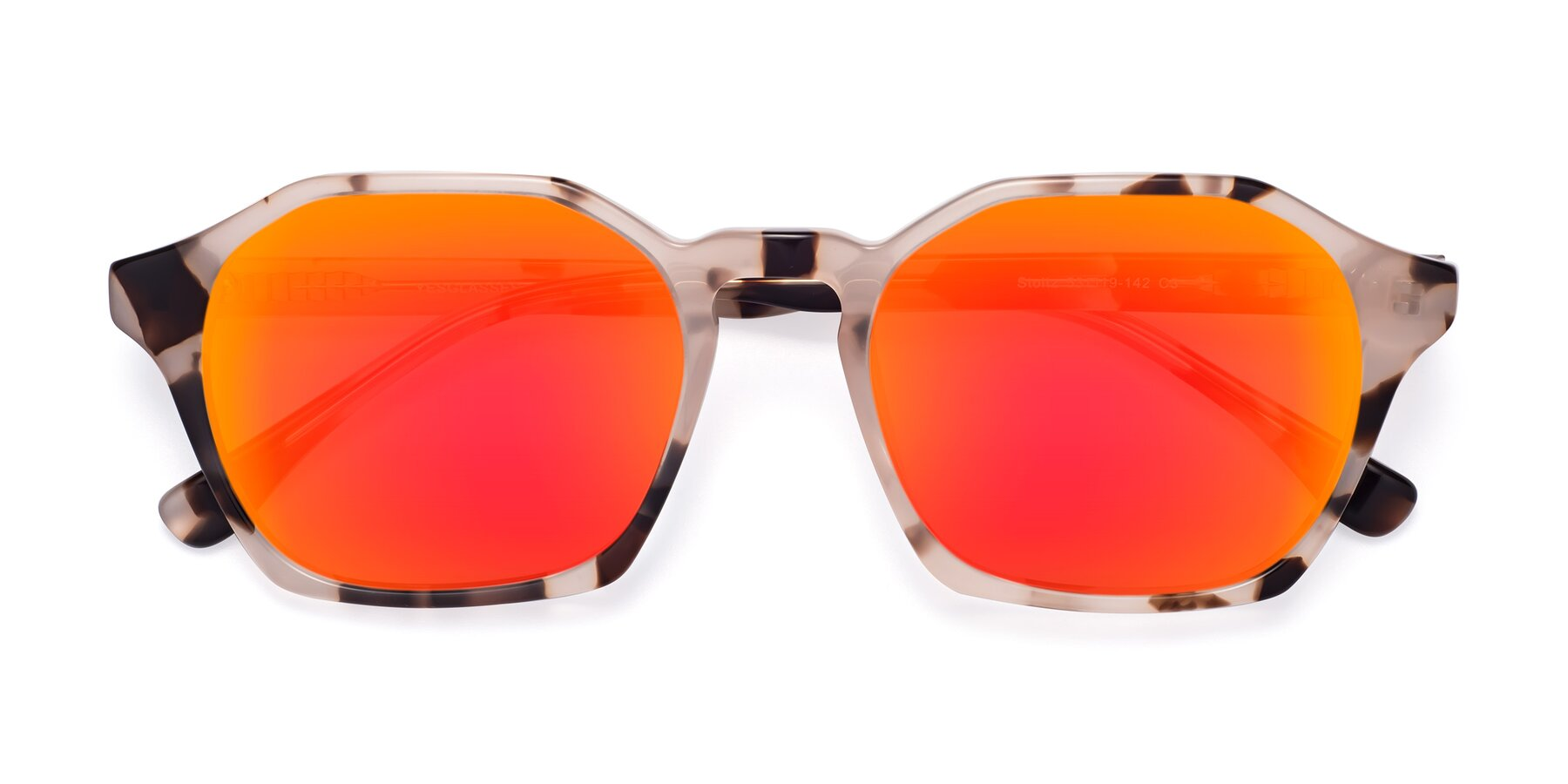 Folded Front of Stoltz in Leopard with Red Gold Mirrored Lenses