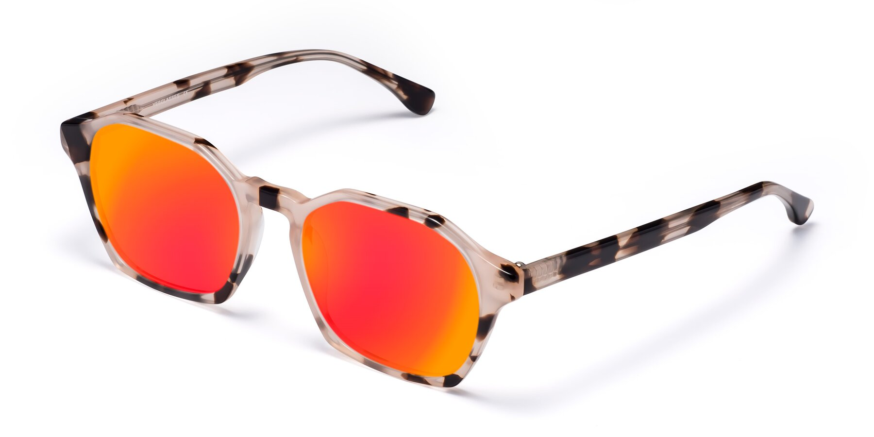 Angle of Stoltz in Leopard with Red Gold Mirrored Lenses