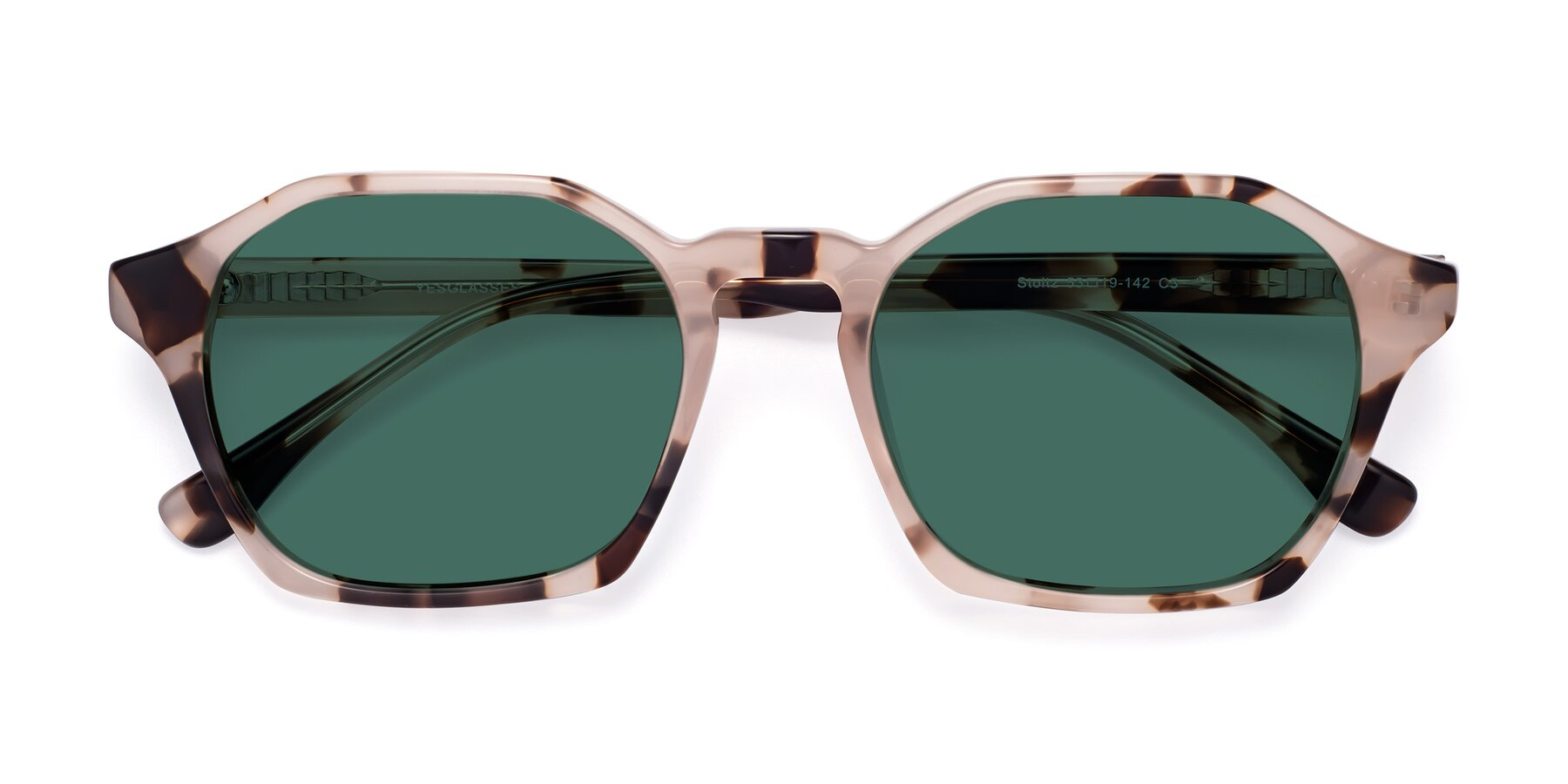 Folded Front of Stoltz in Leopard with Green Polarized Lenses