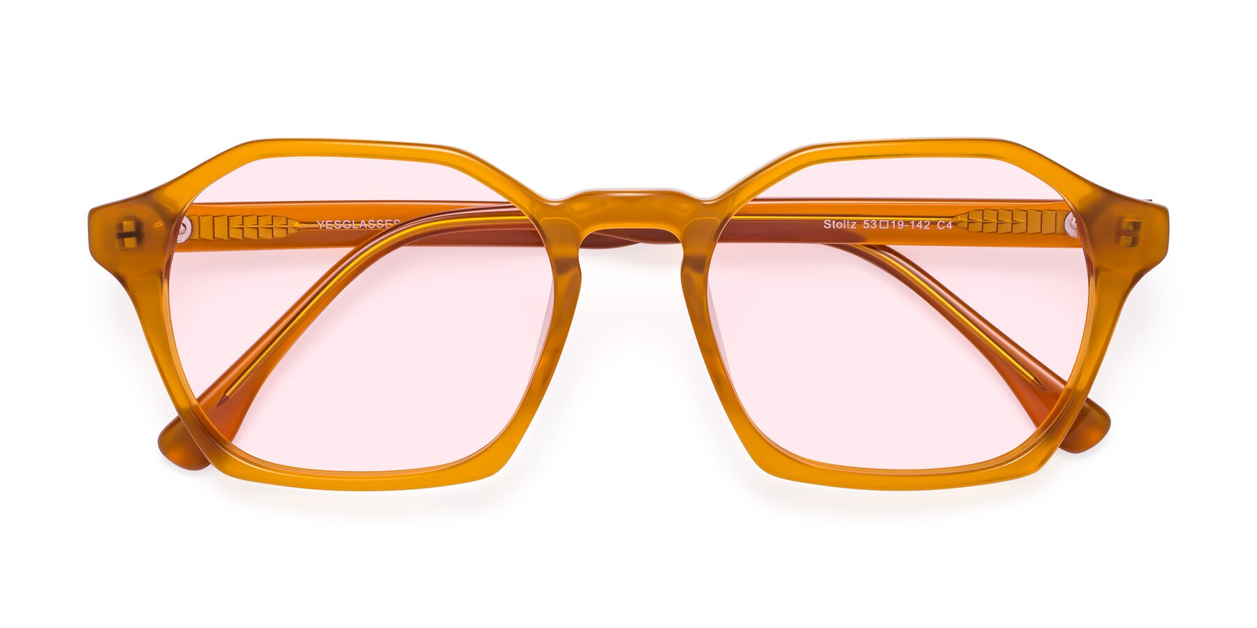 Folded Front of Stoltz in Brown with Light Pink Tinted Lenses