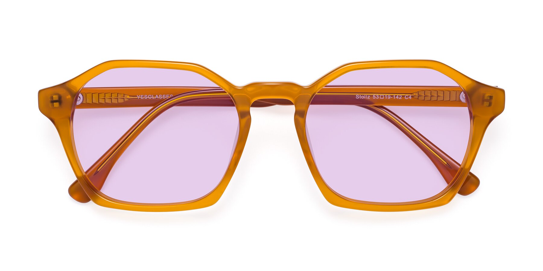 Folded Front of Stoltz in Brown with Light Purple Tinted Lenses