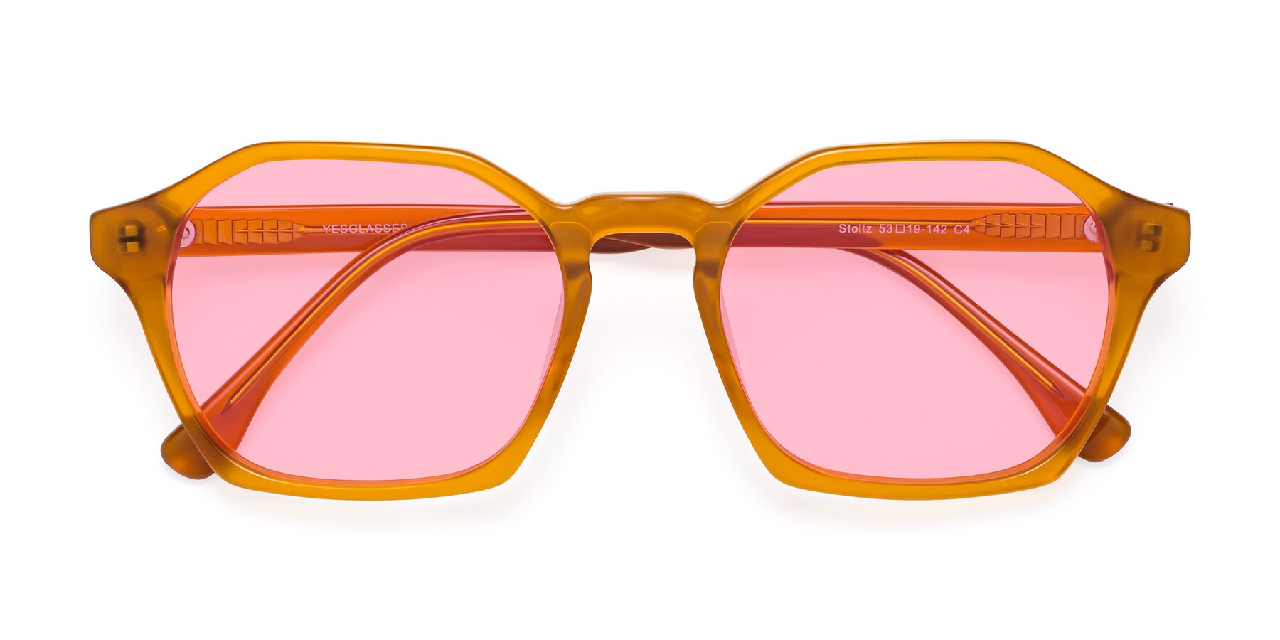 Folded Front of Stoltz in Brown with Medium Pink Tinted Lenses