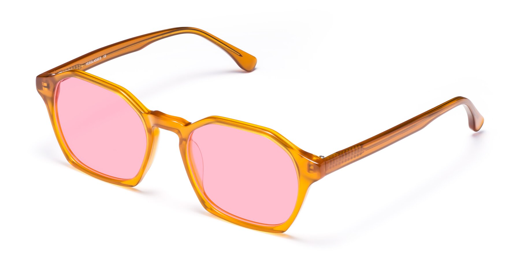 Angle of Stoltz in Brown with Medium Pink Tinted Lenses