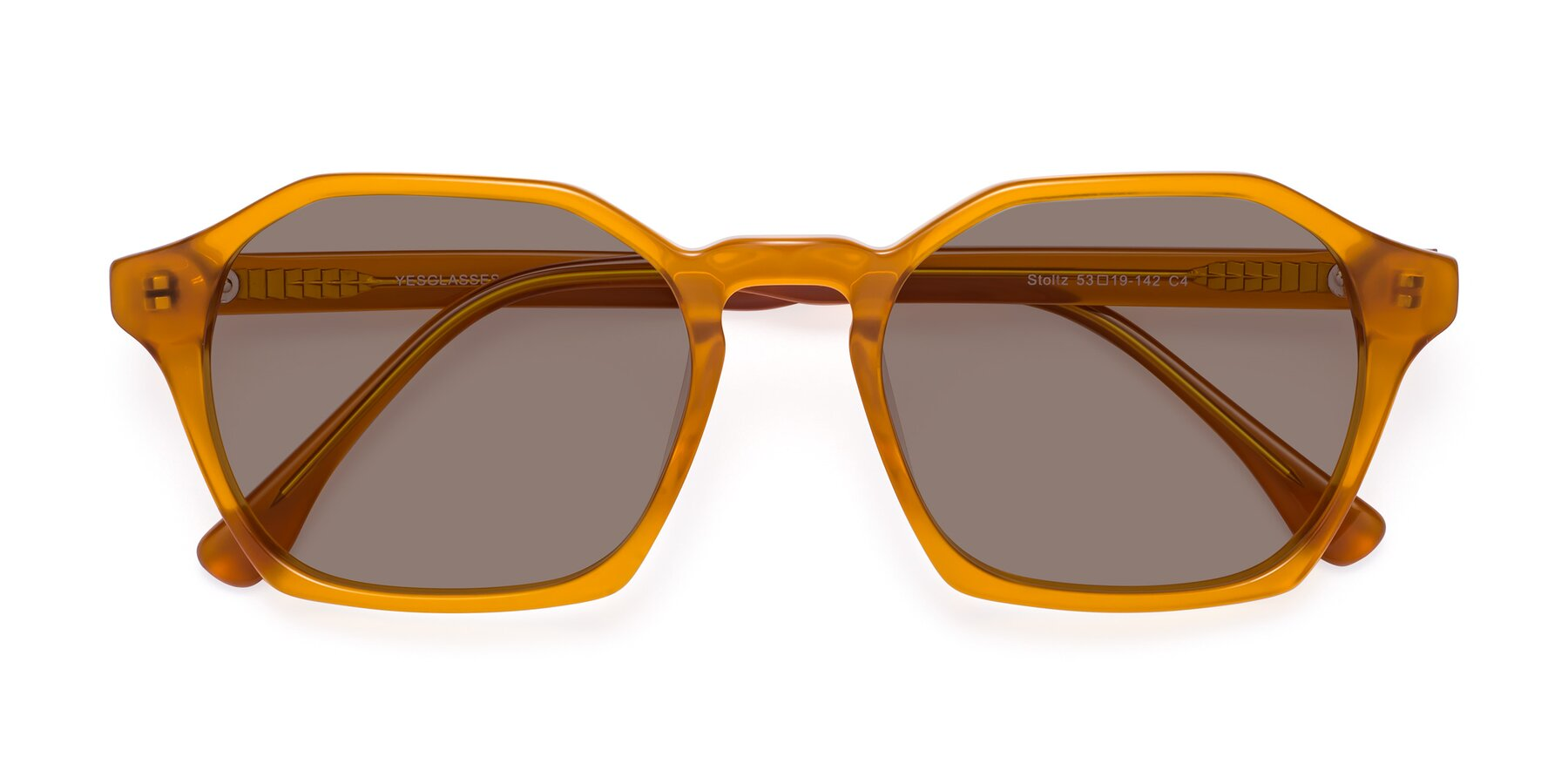 Folded Front of Stoltz in Brown with Medium Brown Tinted Lenses