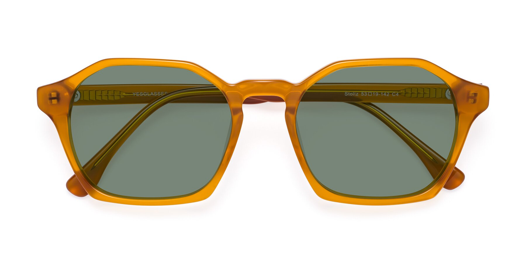 Folded Front of Stoltz in Brown with Medium Green Tinted Lenses