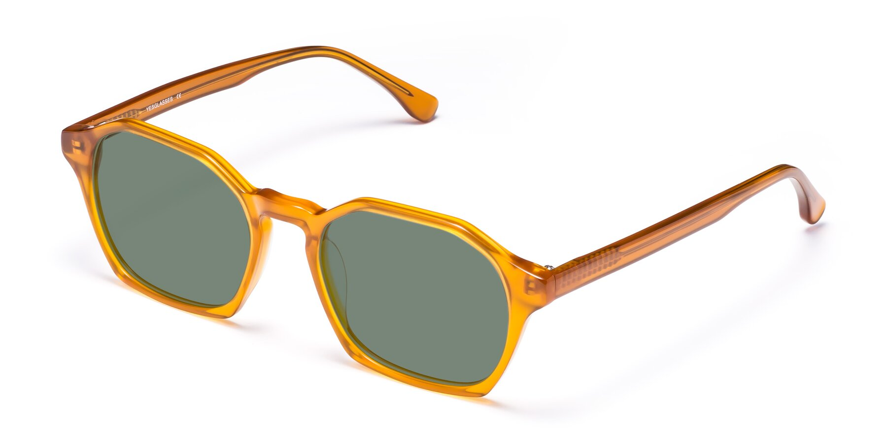 Angle of Stoltz in Brown with Medium Green Tinted Lenses