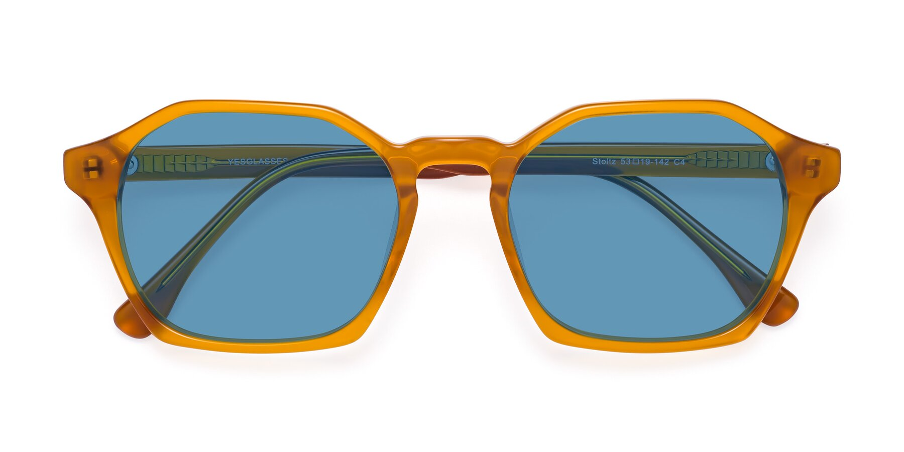Folded Front of Stoltz in Brown with Medium Blue Tinted Lenses