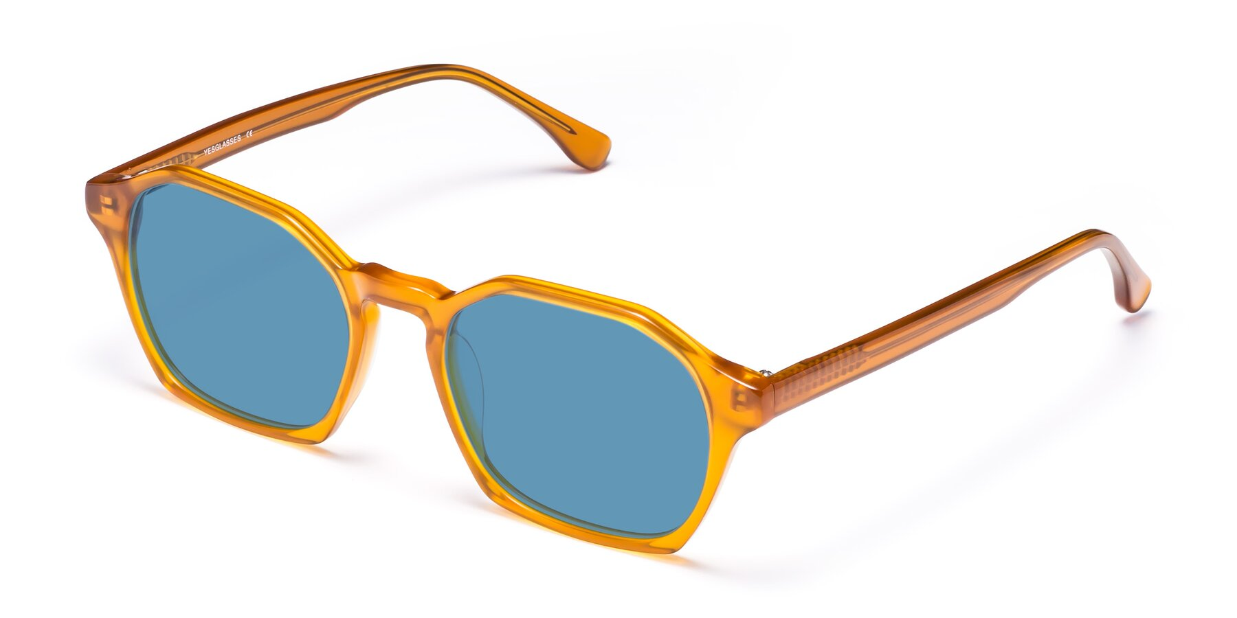 Angle of Stoltz in Brown with Medium Blue Tinted Lenses