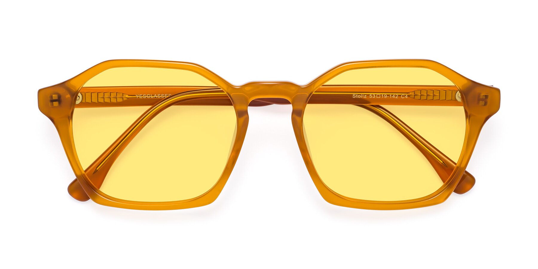 Folded Front of Stoltz in Brown with Medium Yellow Tinted Lenses