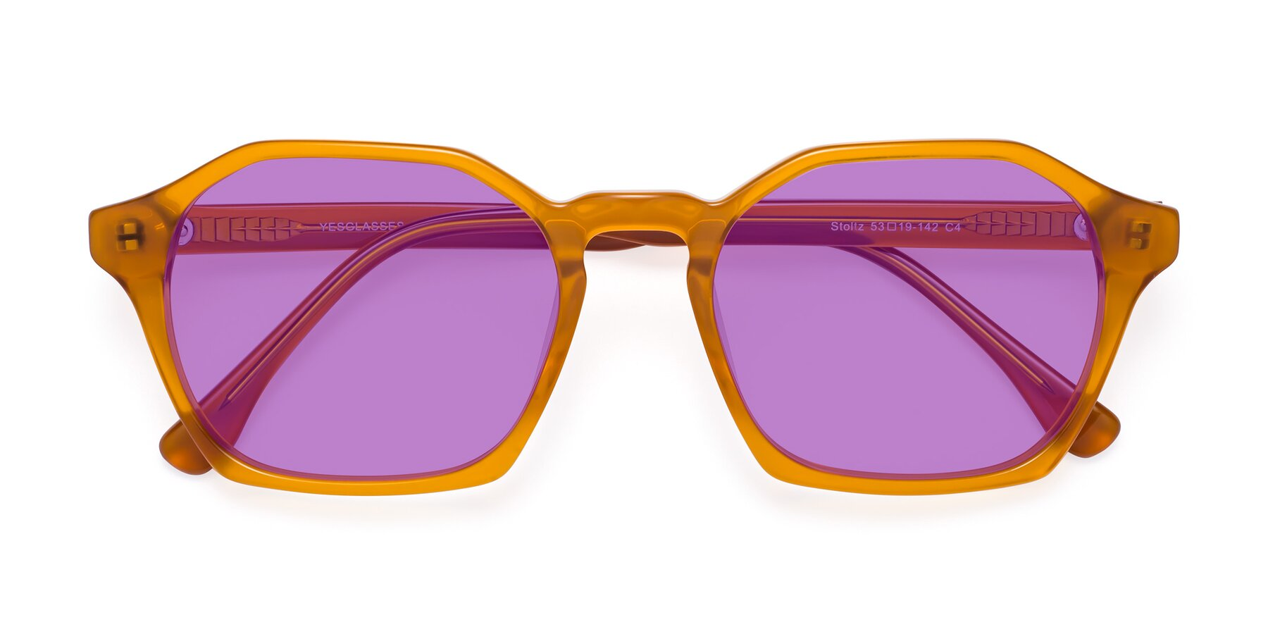 Folded Front of Stoltz in Brown with Medium Purple Tinted Lenses