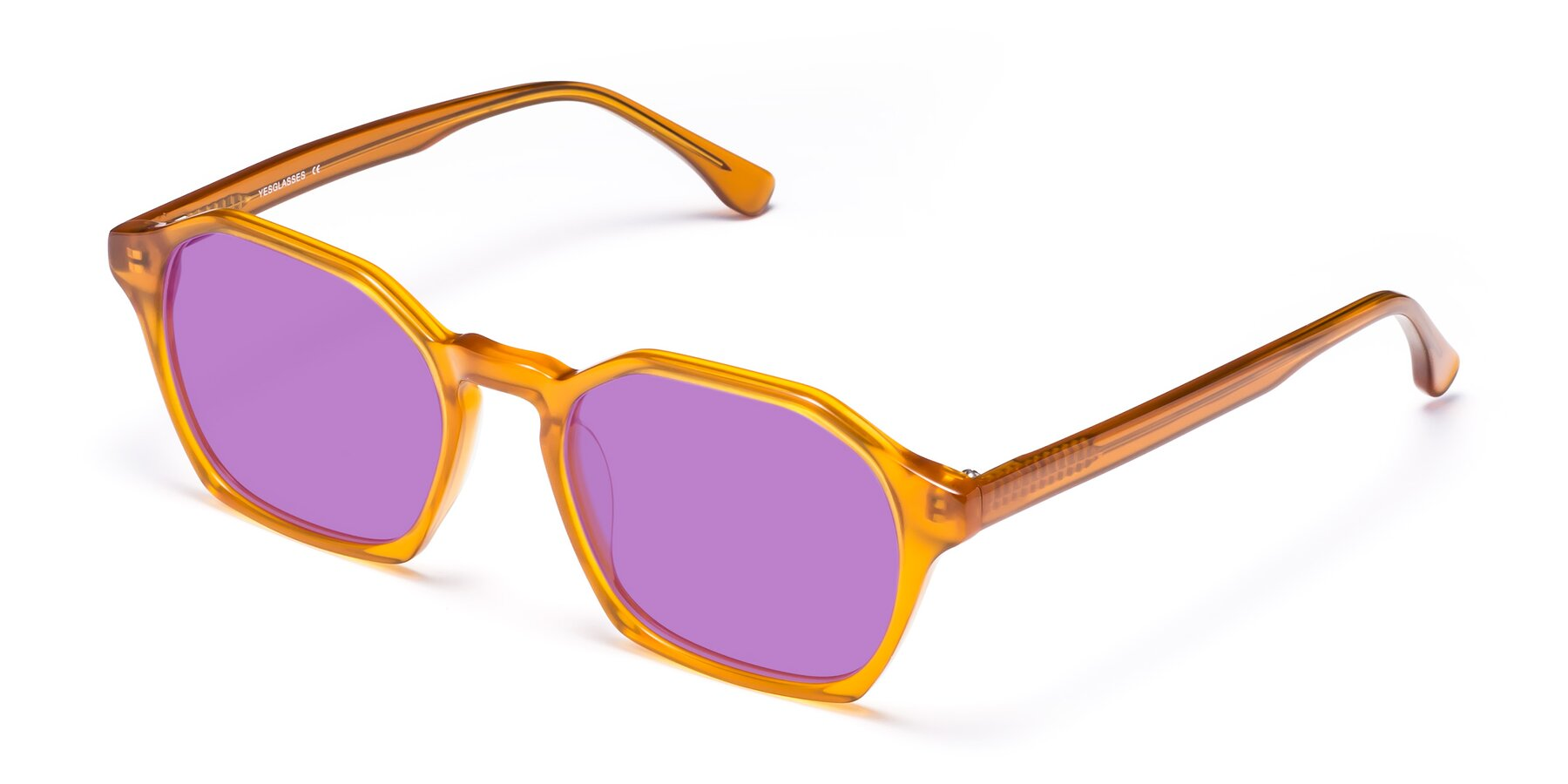 Angle of Stoltz in Brown with Medium Purple Tinted Lenses