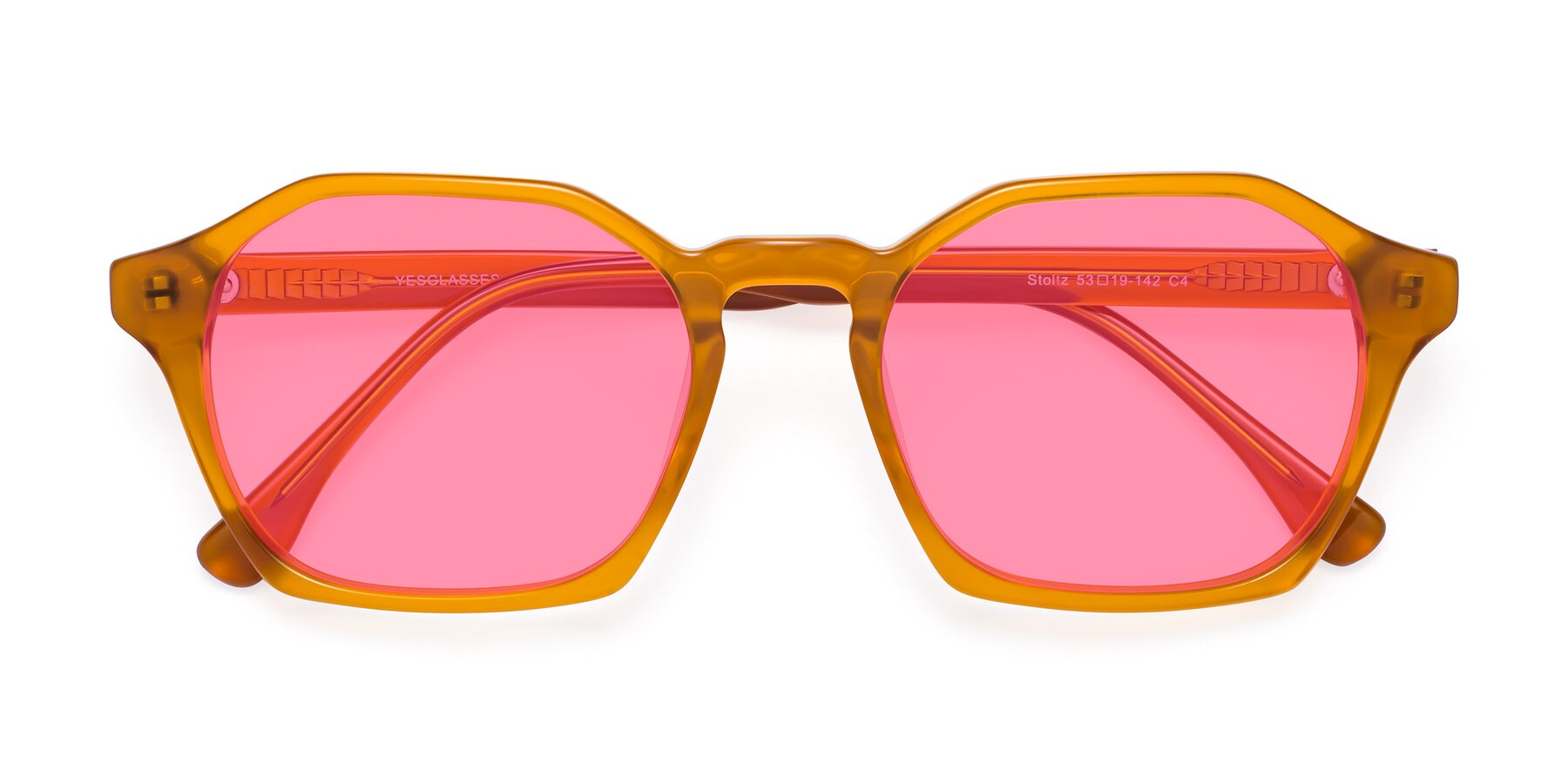 Folded Front of Stoltz in Brown with Pink Tinted Lenses