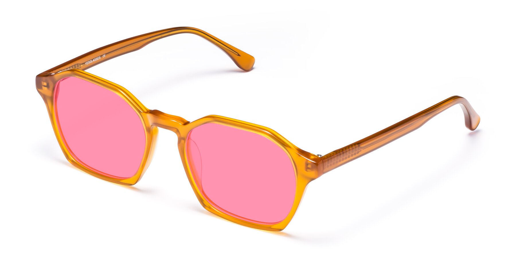 Angle of Stoltz in Brown with Pink Tinted Lenses