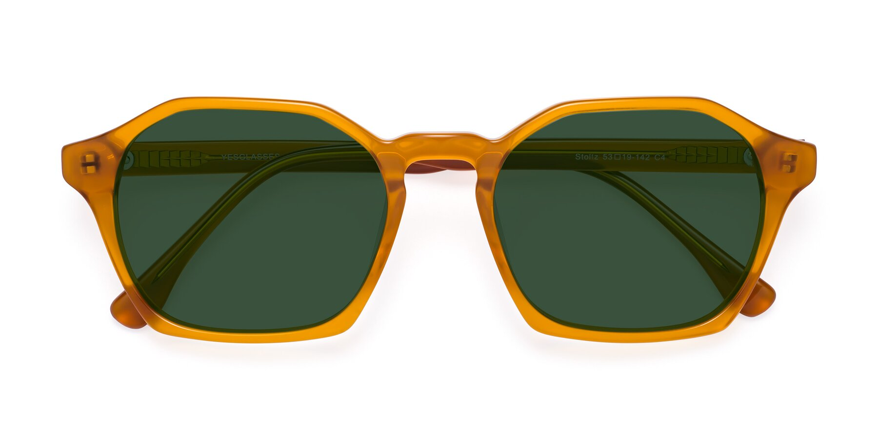 Folded Front of Stoltz in Brown with Green Tinted Lenses