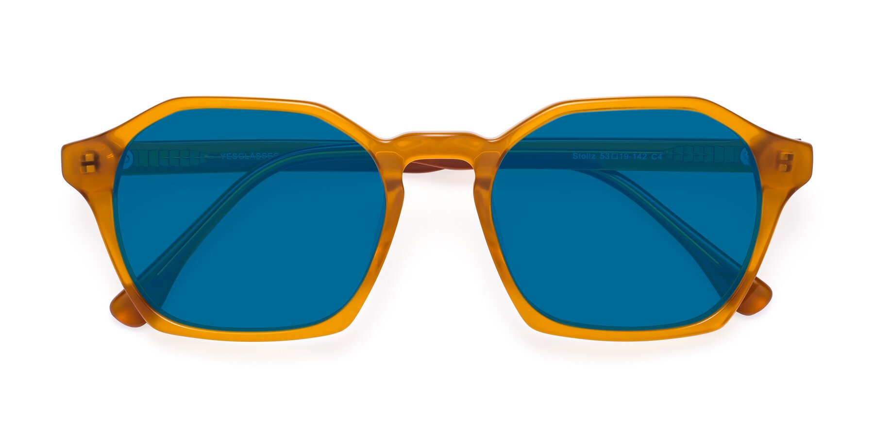 Folded Front of Stoltz in Brown with Blue Tinted Lenses