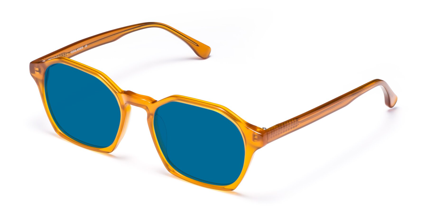 Angle of Stoltz in Brown with Blue Tinted Lenses