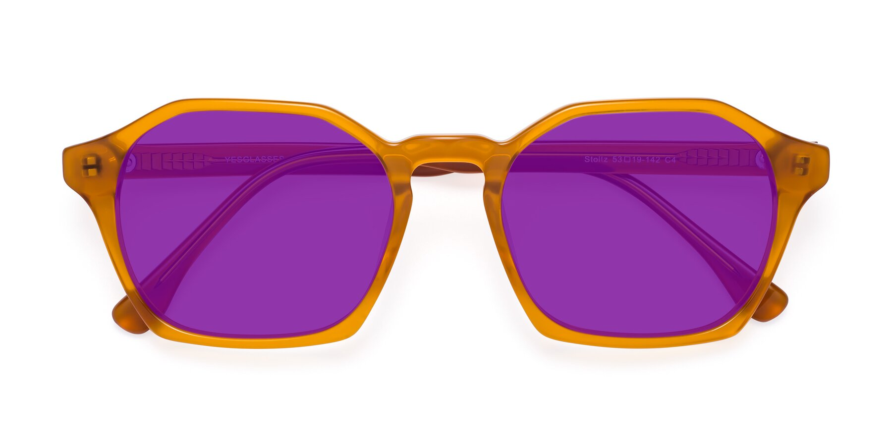 Folded Front of Stoltz in Brown with Purple Tinted Lenses