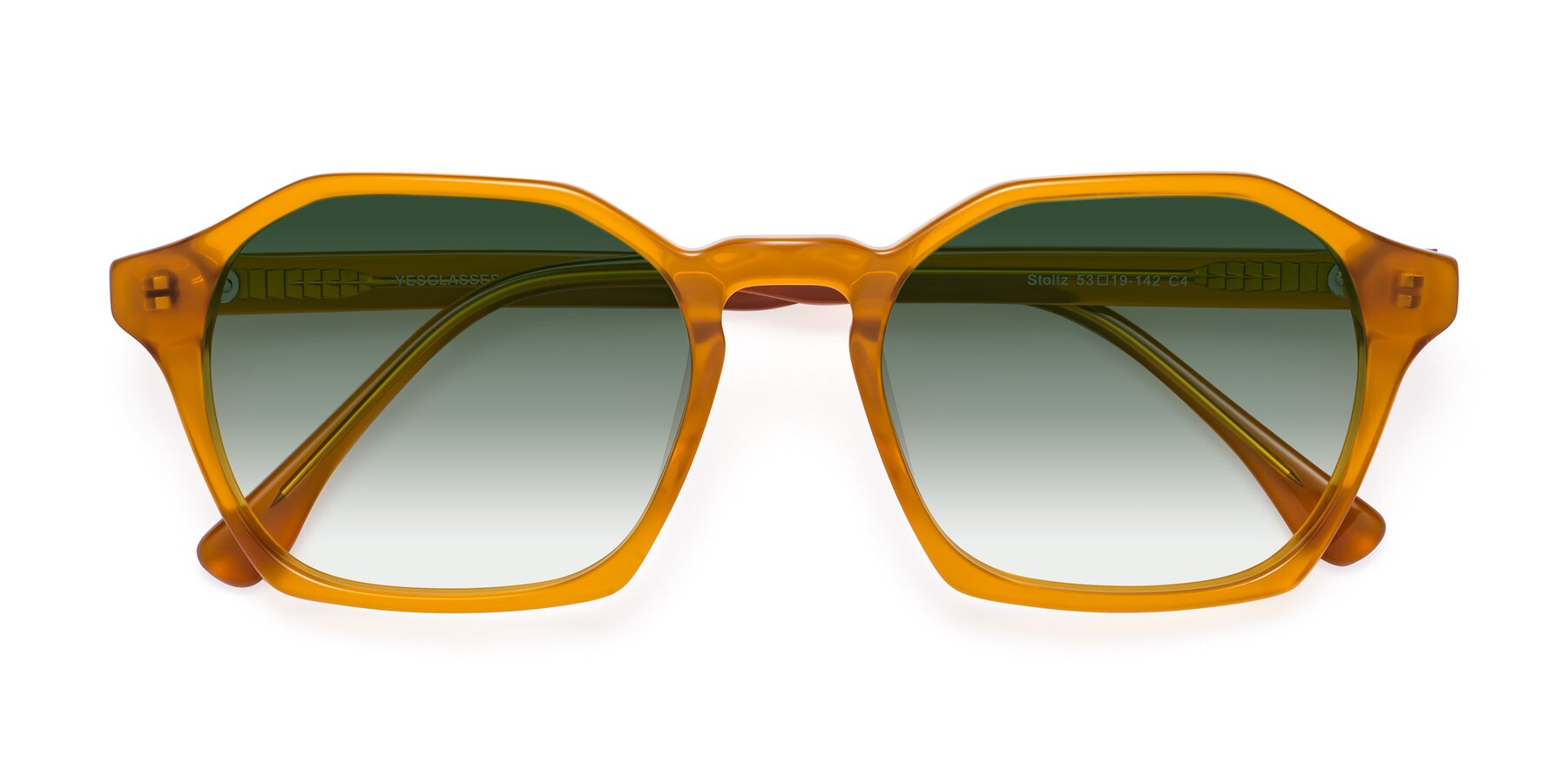 Folded Front of Stoltz in Brown with Green Gradient Lenses