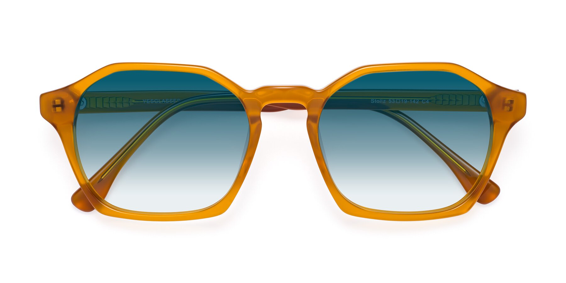 Folded Front of Stoltz in Brown with Blue Gradient Lenses