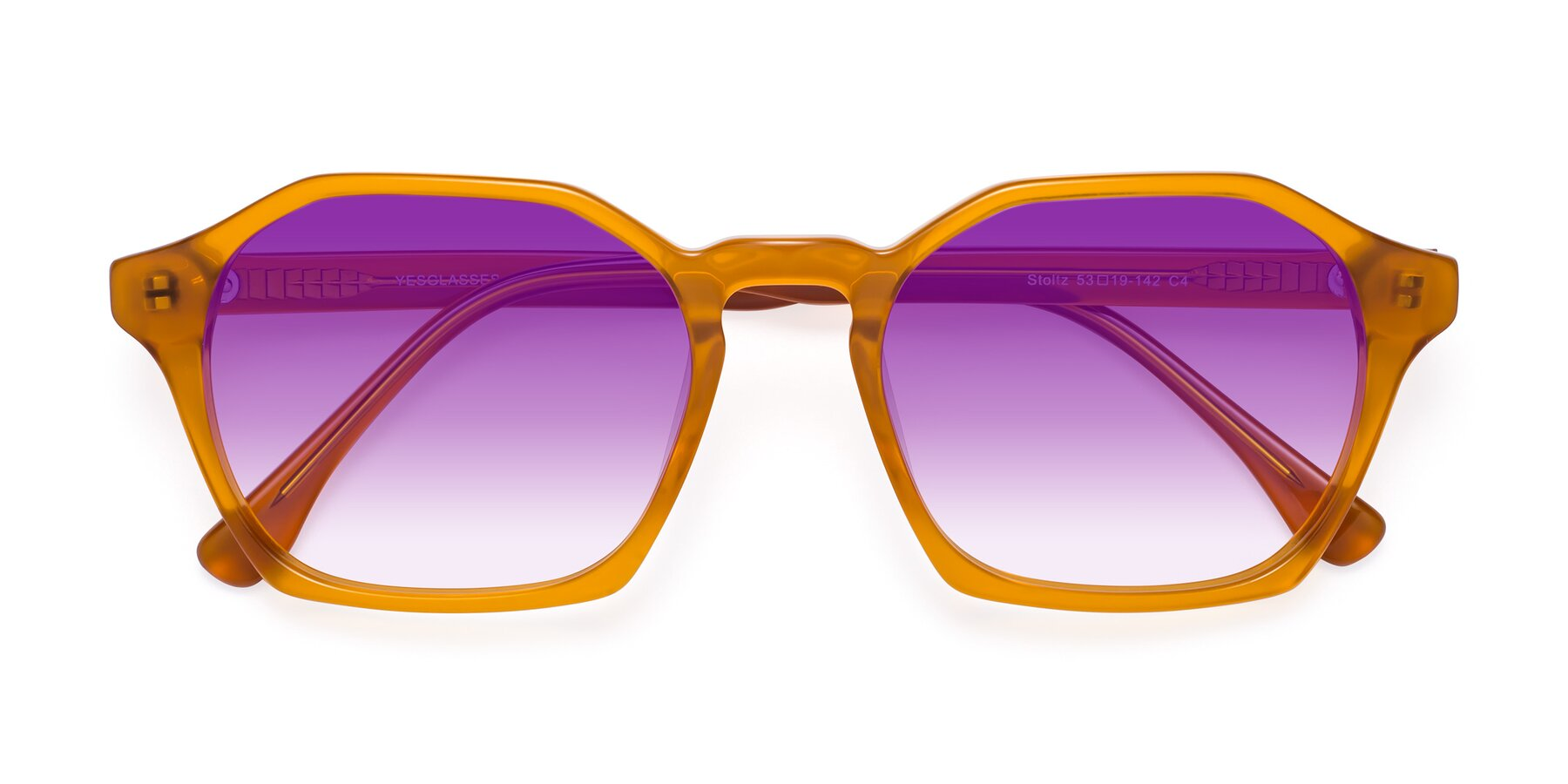 Folded Front of Stoltz in Brown with Purple Gradient Lenses