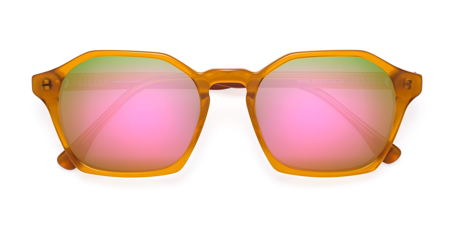 Folded Front of Stoltz in Brown with Pink Mirrored Lenses