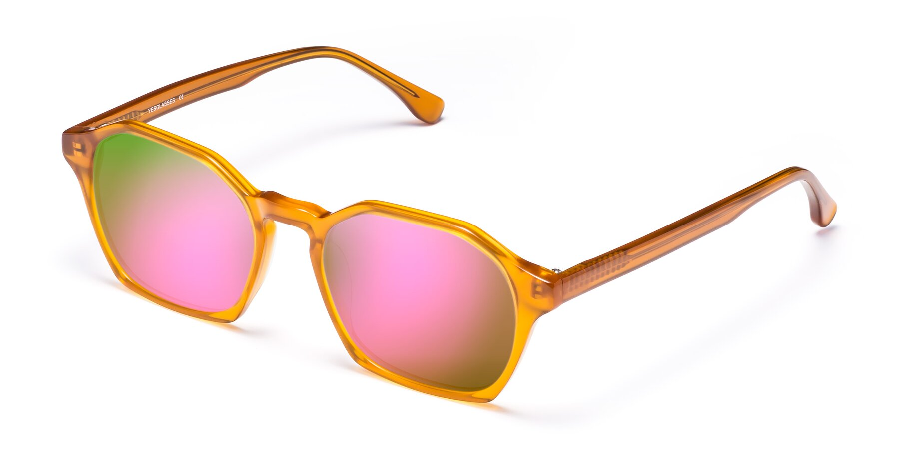 Angle of Stoltz in Brown with Pink Mirrored Lenses