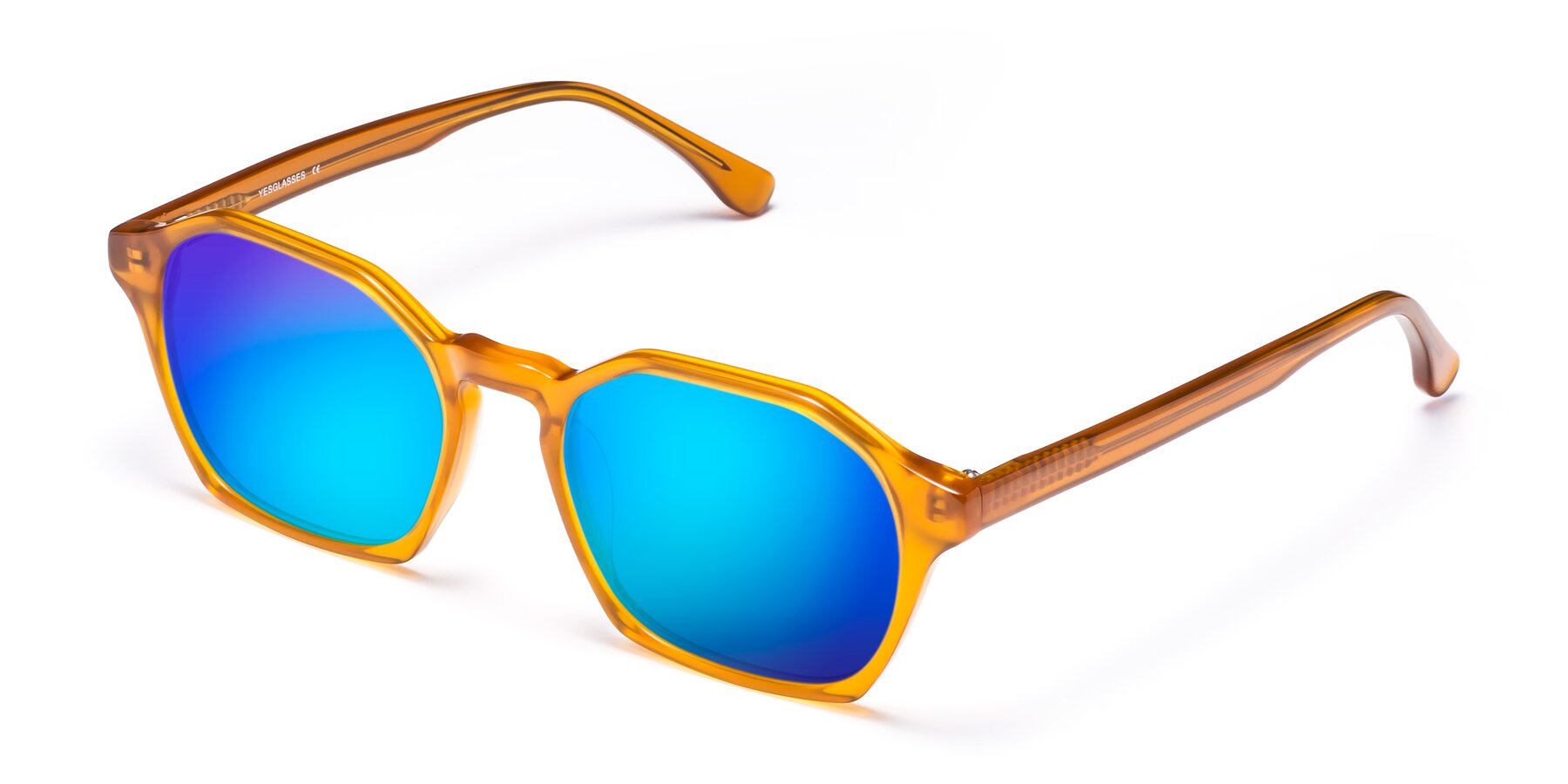 Angle of Stoltz in Brown with Blue Mirrored Lenses
