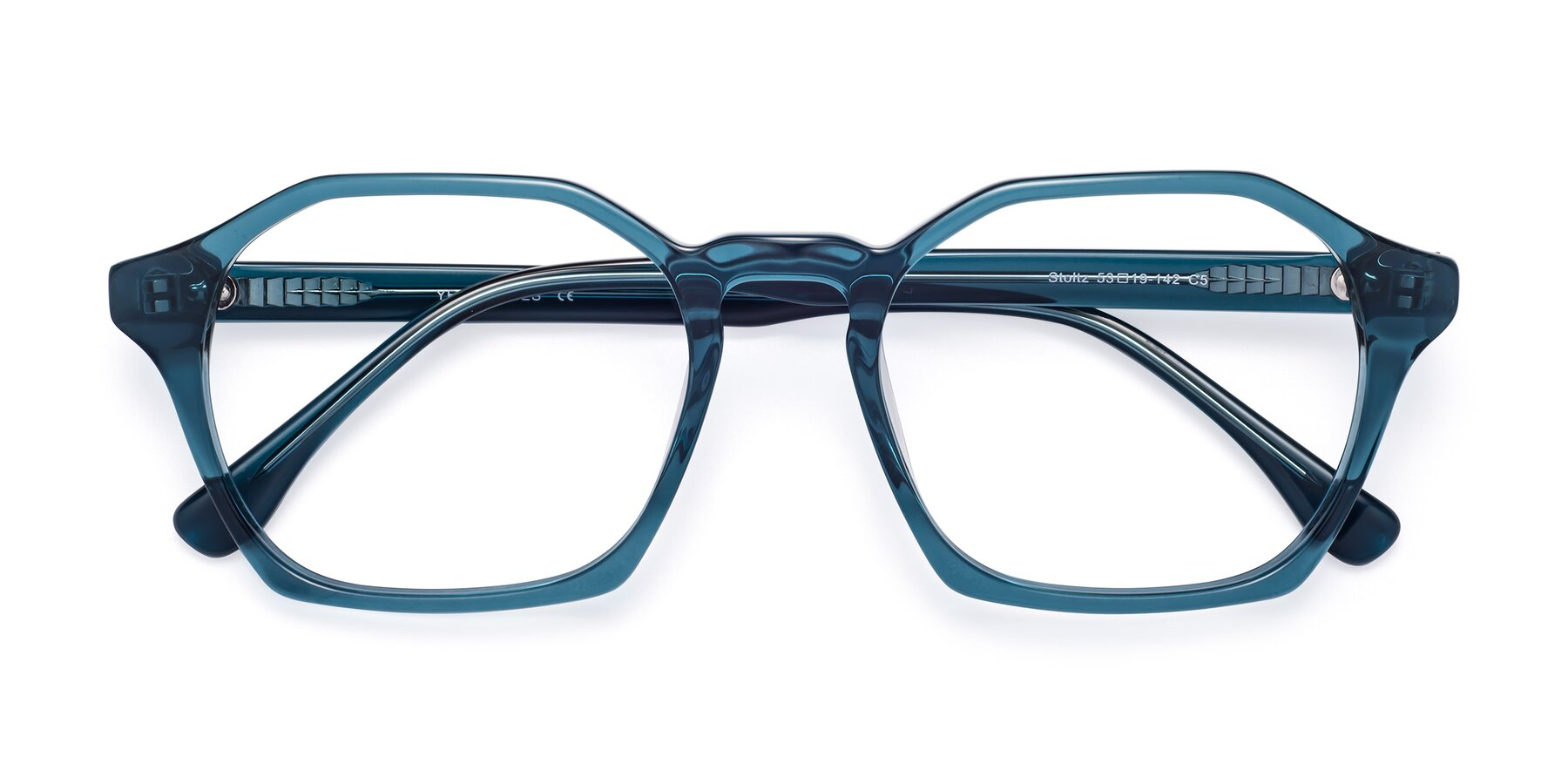 Folded Front of Stoltz in Ink Blue with Clear Eyeglass Lenses