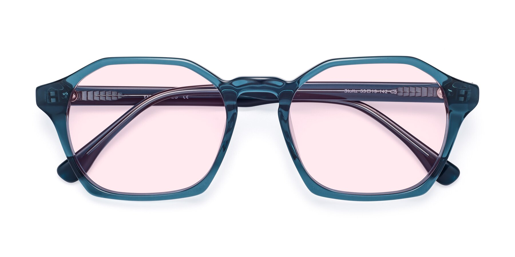Folded Front of Stoltz in Ink Blue with Light Pink Tinted Lenses