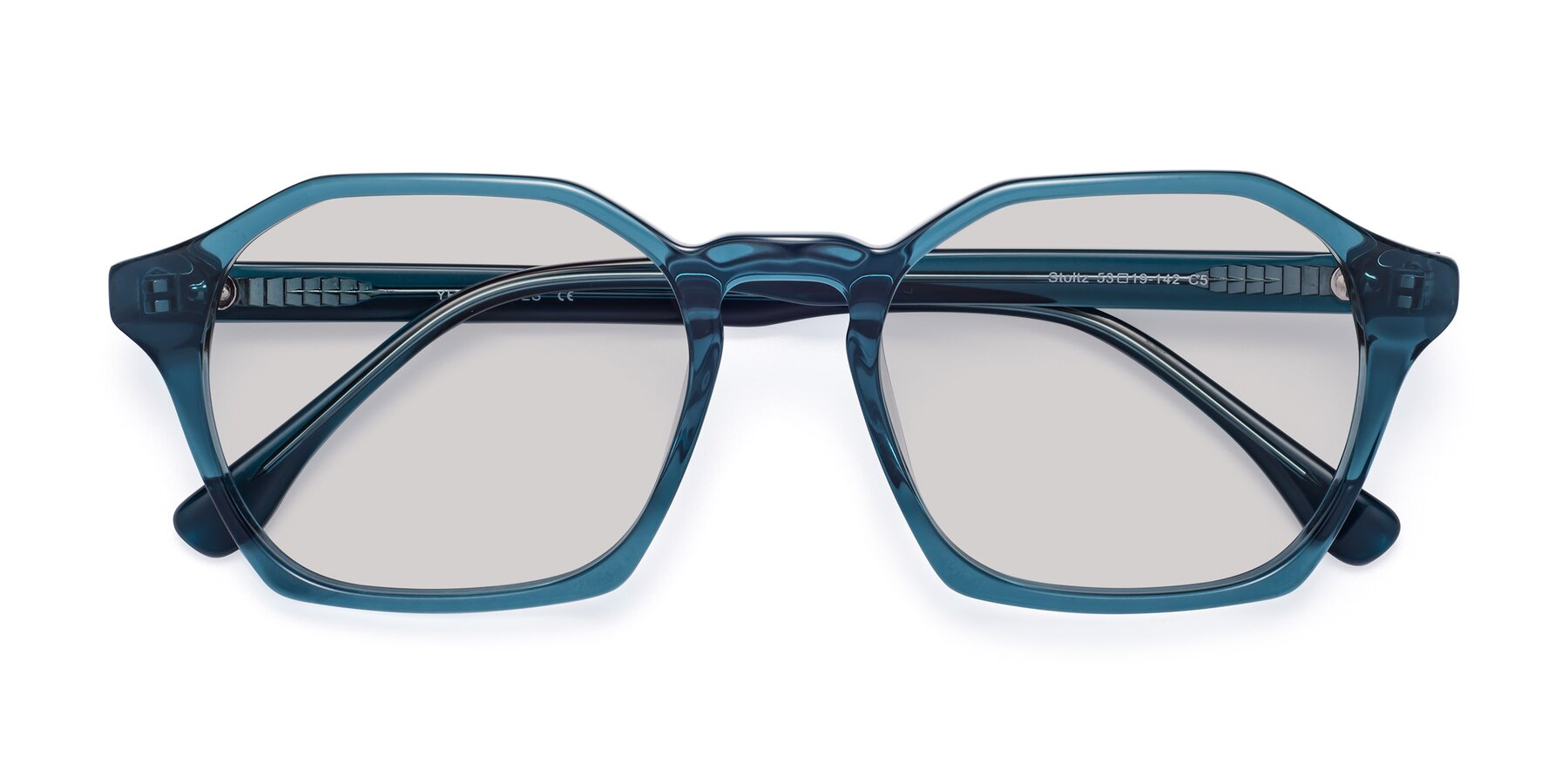 Folded Front of Stoltz in Ink Blue with Light Gray Tinted Lenses