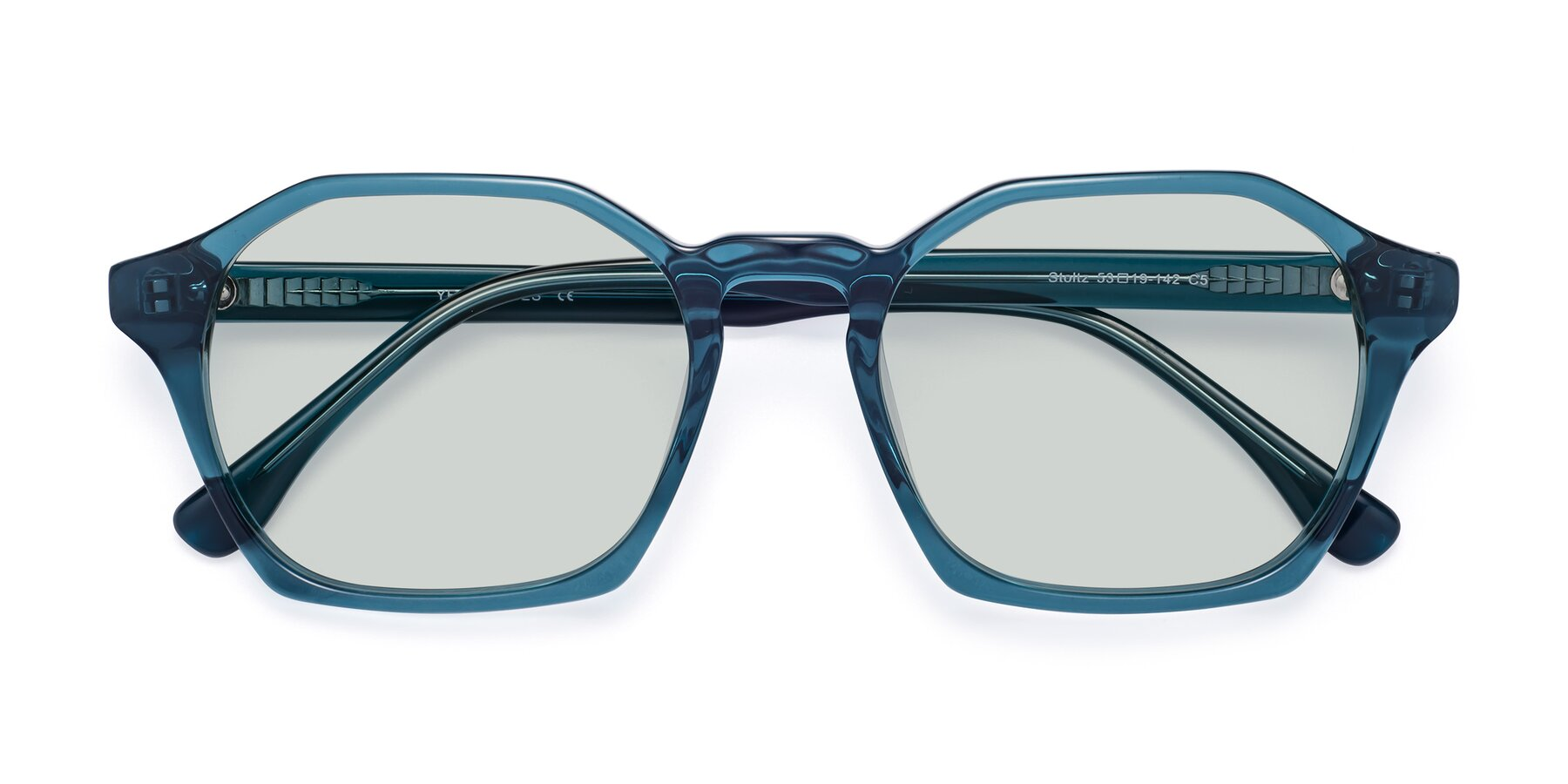 Folded Front of Stoltz in Ink Blue with Light Green Tinted Lenses