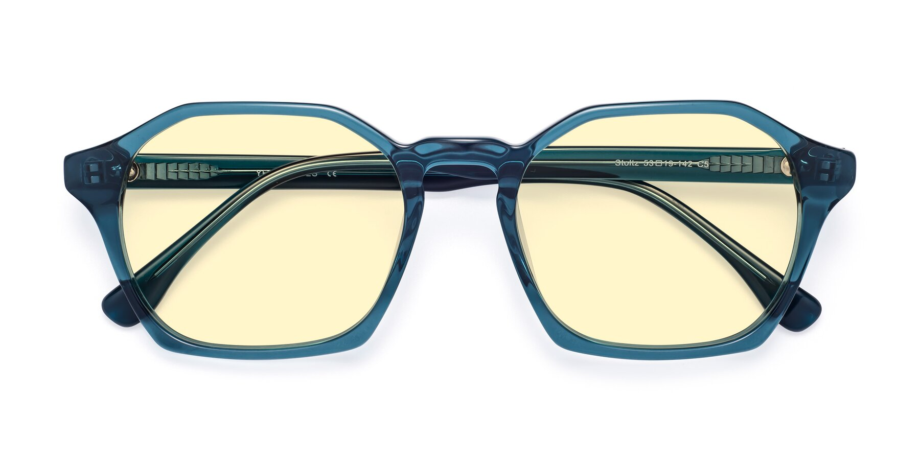 Folded Front of Stoltz in Ink Blue with Light Yellow Tinted Lenses