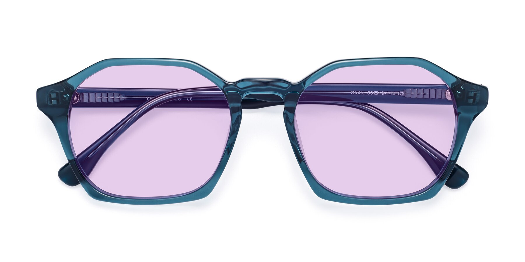 Folded Front of Stoltz in Ink Blue with Light Purple Tinted Lenses