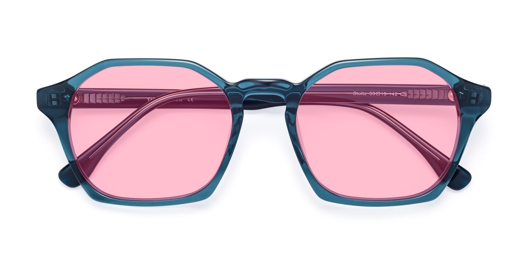 Folded Front of Stoltz in Ink Blue with Medium Pink Tinted Lenses